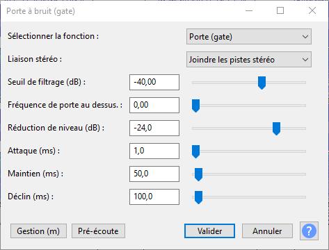 Noise Gate dans Audacity 3.0