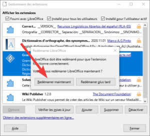 Redémarrer pour terminer l'installation du correcteur grammatical français Grammalecte dans LibreOffice