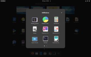 GNOME 40 - Sous groupe du menu des lanceurs