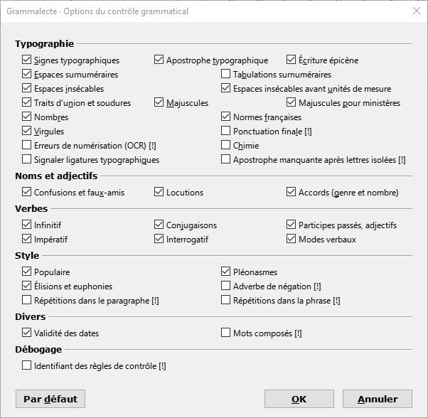 Grammalecte - Options grammaticales