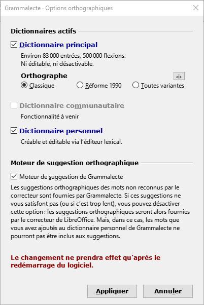 Grammalecte - Options orthographiques