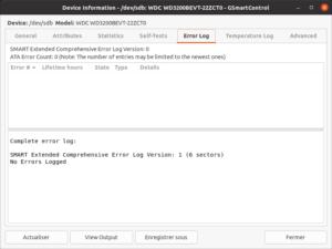 GSmartControl - onglet : error log