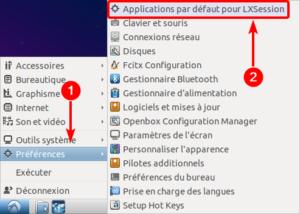 Accès applications par défaut dans Lubuntu 18.04