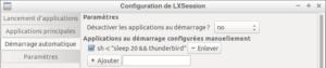 Exemple : lancement automatique de Thunderbird délayé de 20 s sur Lubuntu 18.04