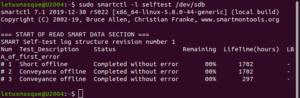 smartctl - Résultats auto-test