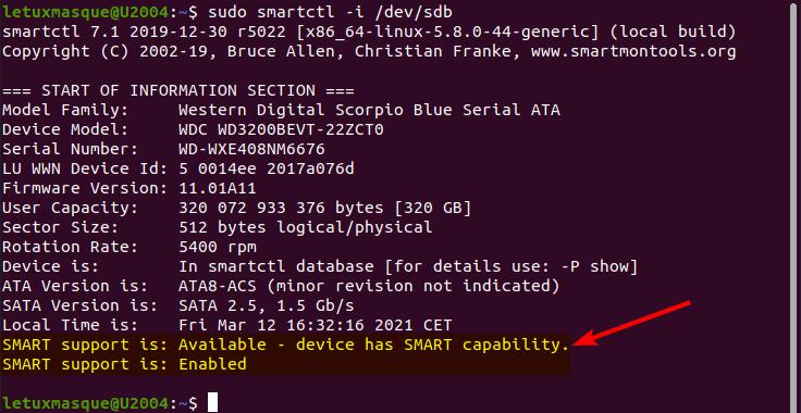 smartctl - statut SMART d'un disque