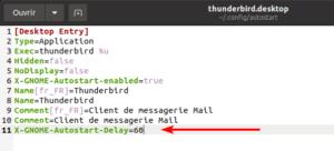 Ajout d'un délai avant le lancement automatique de l'application Thunderbird au démarrage de Ubuntu