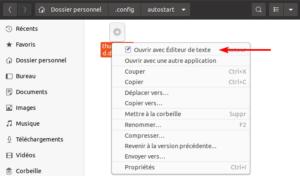 Exemple pour éditer le lanceur de l'application au démarrage Thunderbird dans Ubuntu