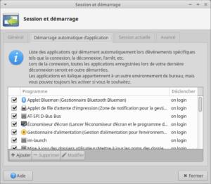 Liste des applications au démarrage de Xubuntu