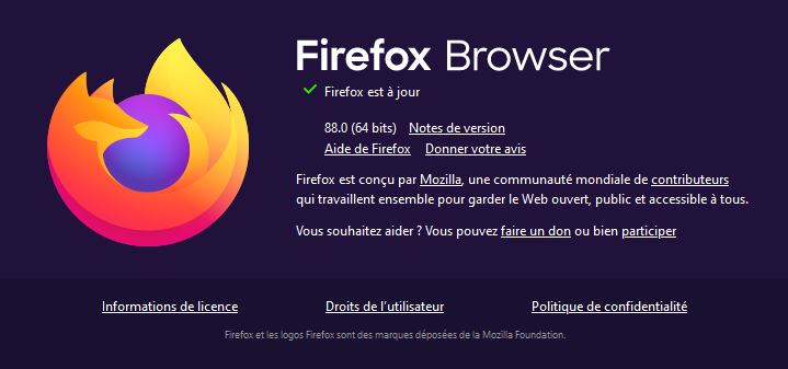 À propos Firefox 88
