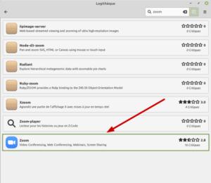 Flatpak zoom dans logithèque de Linux Mint