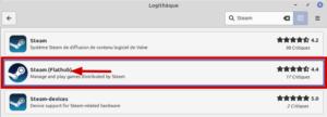 Steam au format Flatpak dans la logithèque