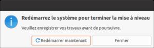 Redémarrage de fin de mise à niveau vers Ubuntu 21.04