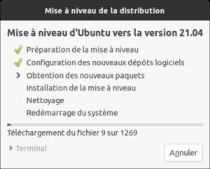 Application de la mise à niveau vers Ubuntu 21.04