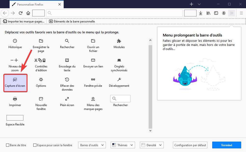 Personnalisation bouton capture écran