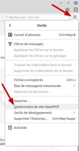 Thunderbird - Accès au gestionnaire des clés OpenPGP