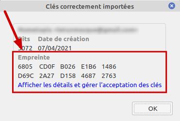 Thunderbird - confirmation import clé