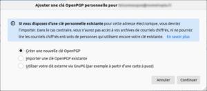 Thunderbird - générer une nouvelle clé OpenPGP pour chiffrer ses mails