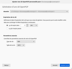 Thunderbird - Générer une clé OpenPGP pour chiffrer ses mails - paramètres