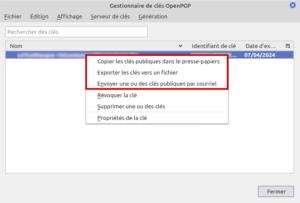Thunderbird - gestionnaire des clés OpenPGP - exporter clé publique pour permettre à votre correspondant de chiffrer les mails qu'il vous envoie