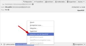Thunderbird - importer clé publique reçue par mail pour chiffrer les mails que vous enverrez à ce correspondant