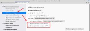 Paramètres pour insérer automatiquement la signature aussi à un mail de réponse ou de transfert dans Thunderbird