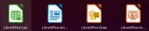 Icônes des applications LibreOffice dans Ubuntu 21.04