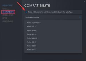 Option de compatibilité pour un jeu dans Steam