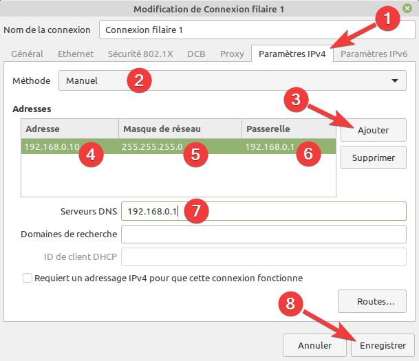 Configurer une adresse IP fixe sur Linux Mint