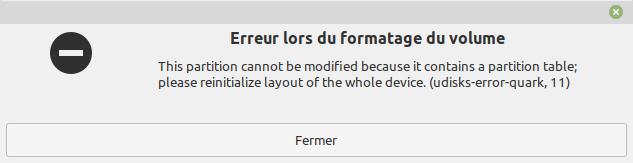 erreur lors du formatage cle usb bootable