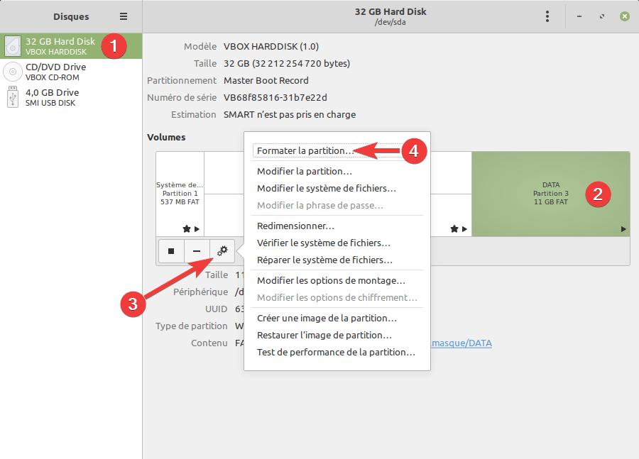Formater clé USB dans Linux Mint avec gnome-disk-utility