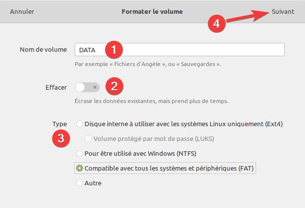 gnome-disk-utility formater volume