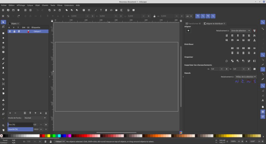 Boites de dialogues de chaque côté de l'espace de travail dans Inkscape 1.1