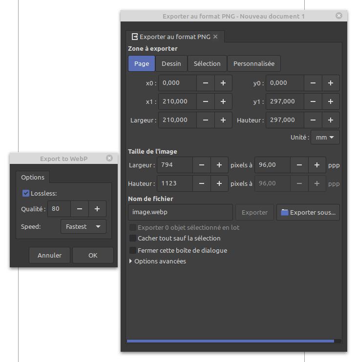 Export vers format WebP
