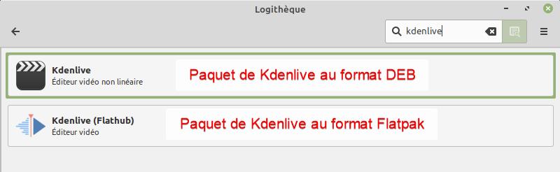 kdenlive dans logitheque de linux mint