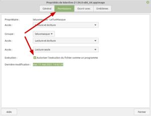 Permissions fichiers AppImage dans Linux Mint Cinnamon