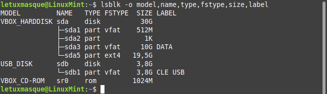 linux mint lsblk avec model