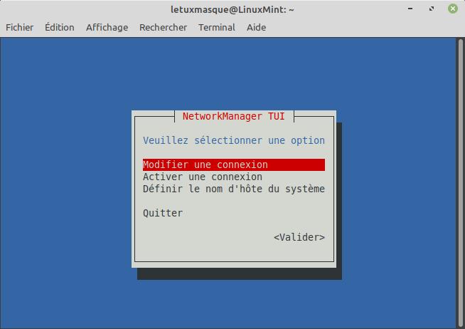 nmtui modifier connexion réseau