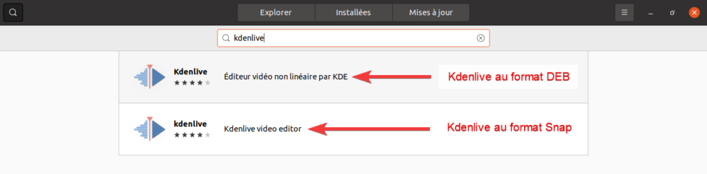 paquets kdenlive dans le ubuntu software