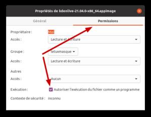 Permissions fichiers AppImage dans Ubuntu