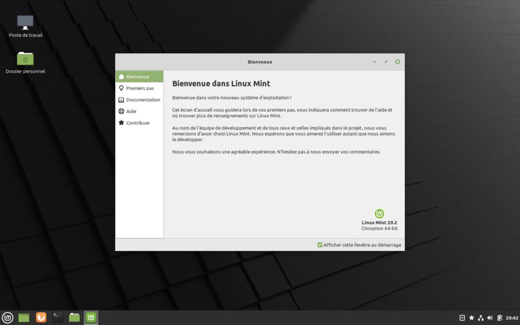 Bienvenue - Linux Mint 20.2