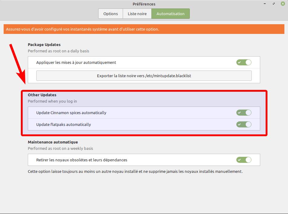 Linux Mint 20.2 mintupdate - options autoupdate spices flatpak