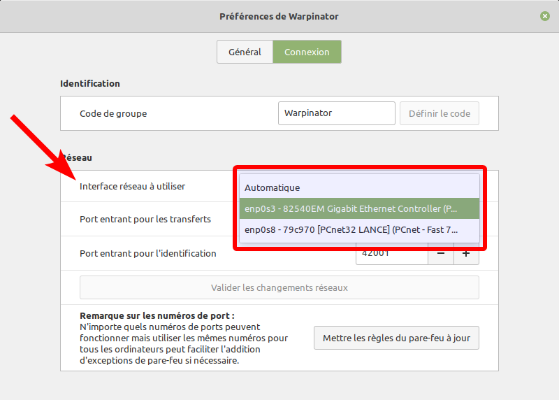 Warpinator - choix interface réseau