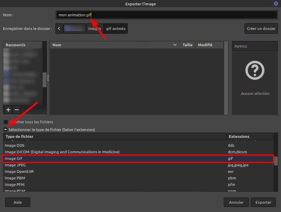 gimp - exporter GIF animé