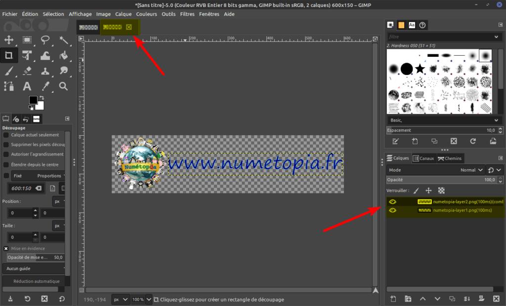 Gimp - nouveau projet avec calques optimisés pour GIF animé