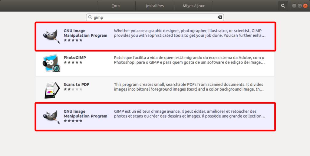 Paquets Gimp dans logithèque Ubuntu 18.04