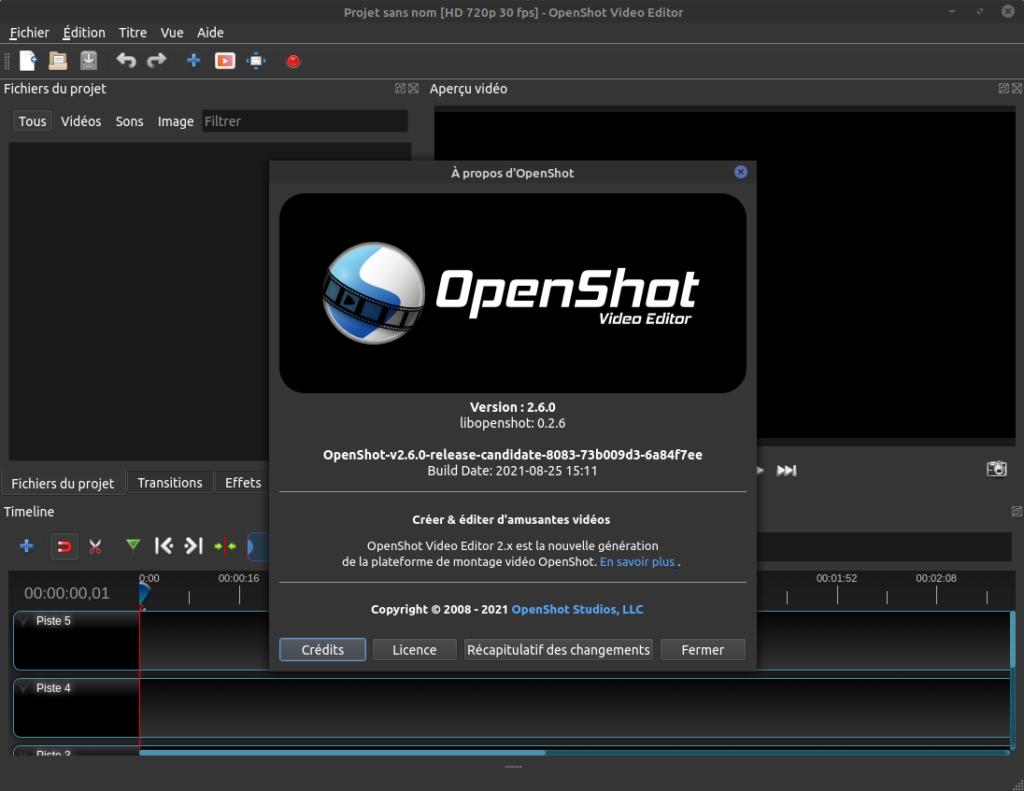 à propos OpenShot 2.6