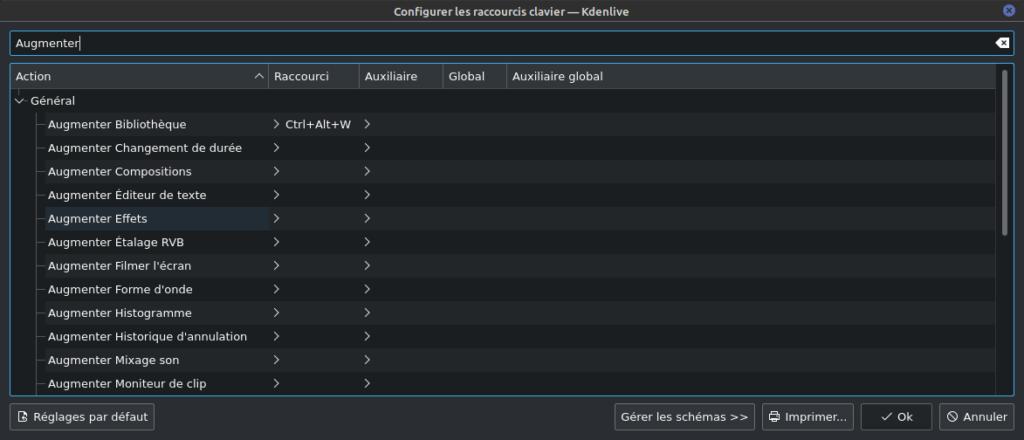 kdenlive 21.08 - raccourcis clavier pour augmenter un widget