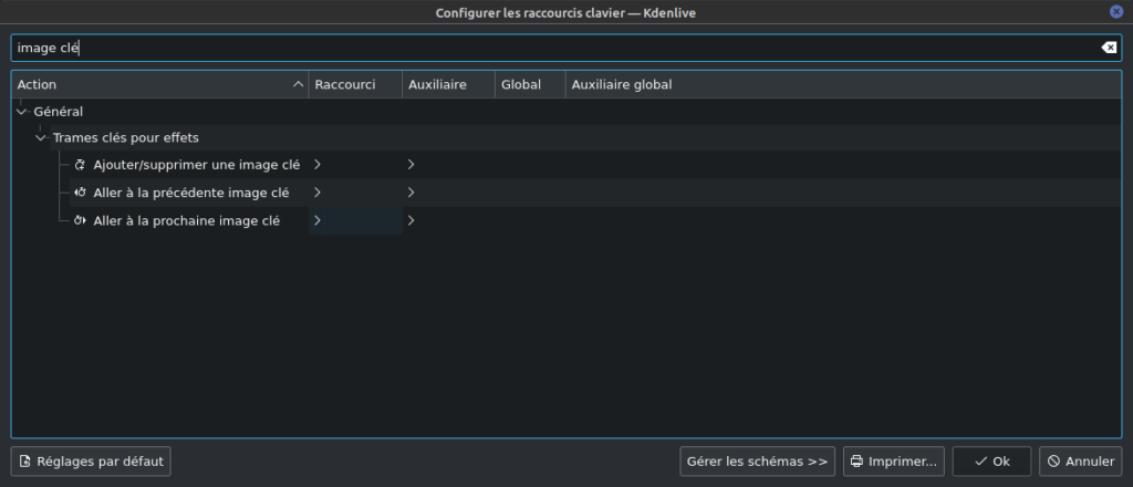 kdenlive 21.08 - raccourcis pour keyframe