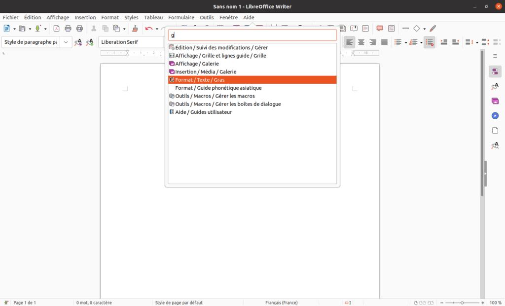libreoffice 7.2 - barre de recherche de commandes